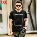 Big Size Summer high elastic cotton T-shirt collar code geometric pattern stylish black t-shirt men's college students T