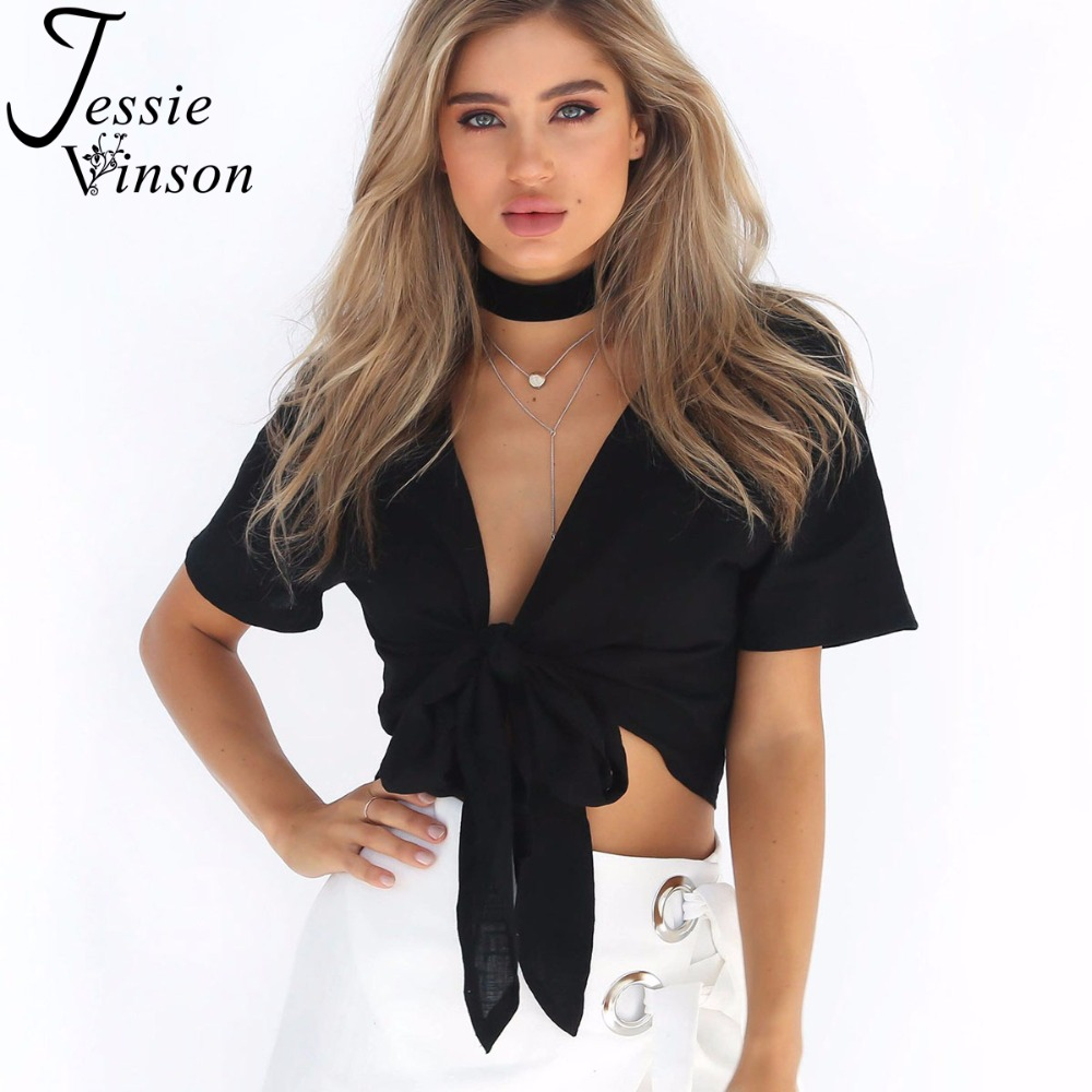 Jessie Vinson Fashion Short Sleeve V-neck Tying Knot Lace up Crop Top Summer Short Blouse Shirt Women Tops Black White