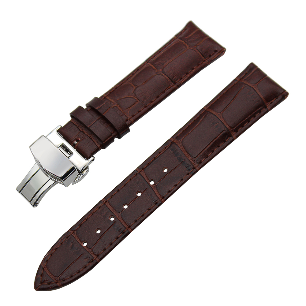 Image 2 - 14/16/18/19/20/21/22/23/24mm Genuine Leather Watch Band for Frederique Constant Stainless Steel Buckle Strap Wrist Belt Bracelet-in Watchbands from Watches