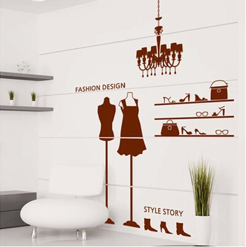 Бутики фон магазин одежды витринные наклейки, прикрепленные к стеклянной декорации, модели персонажей