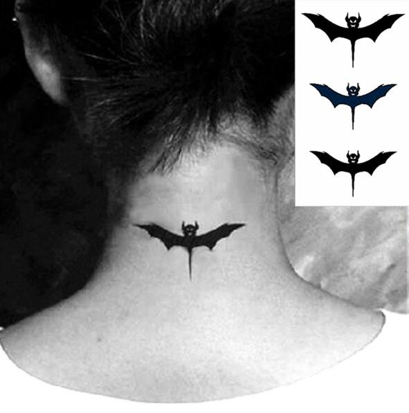 Black Vampire Bat Temporary Tattoo Body Art Flash Tattoo Stickers PYF-153 Waterproof Henna Tatoo Selfie Neck Arm Legs Sticker ...
