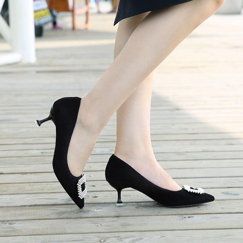 on Chaussures Semelle Peu Talon Mince Pompes khaki Casual Cristal Suédé Robe Profonde Femmes Boucle Black Microfibre Dame Bout Carré Slip Pointu Z74A70nW