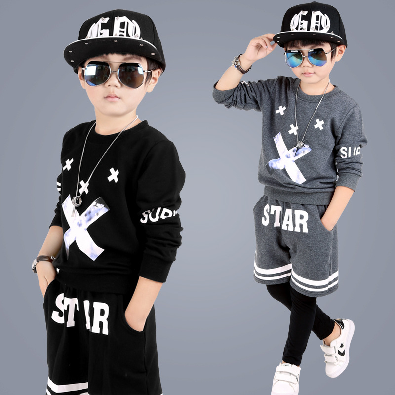 kids hip hop clothing Autumn New Boys  Kids Suit Children Tracksuit Boys Long Shirt + Pants Sweatshirt Casual Clothes 2 Color