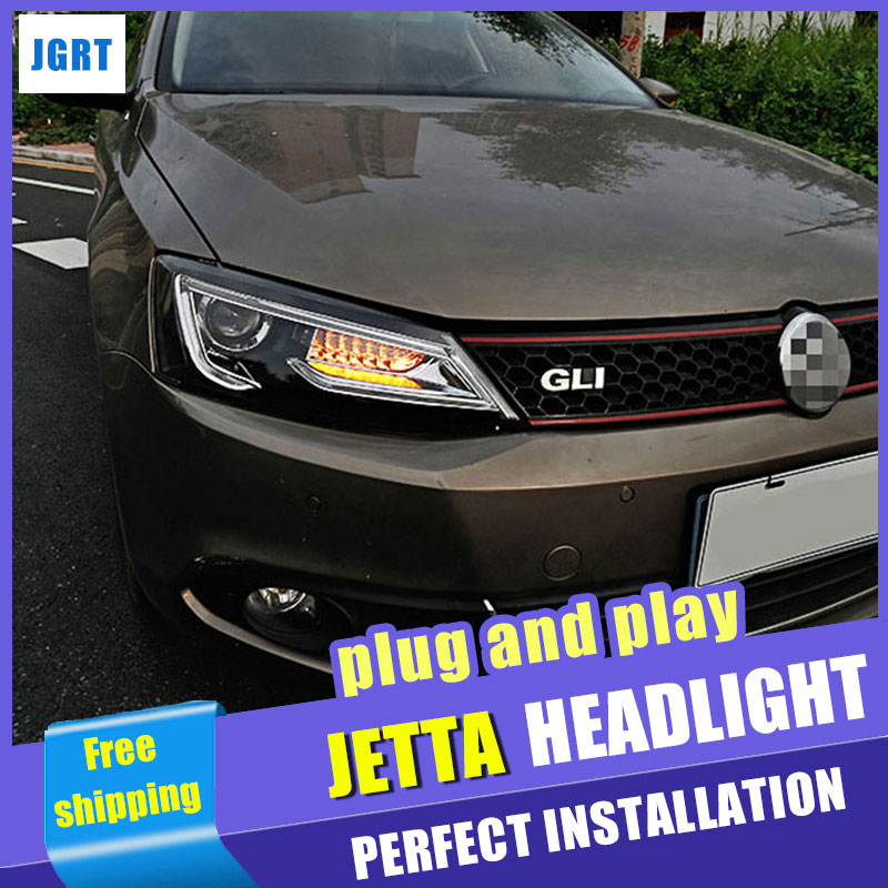 Car Styling Headlights 2012-2017 for VW Jetta LED DRL Lens Double Beam H7 HID Xenon bi xenon lens hireno headlamp for mercedes benz w163 ml320 ml280 ml350 ml430 headlight assembly led drl angel lens double beam hid xenon 2pcs