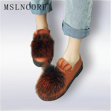 Size 34-45 Women Autumn Winter Real Rabbit Fur Platform Flats Warm Loafers Ladies Shoes Slip On Plush Boat Zapatos Mujer