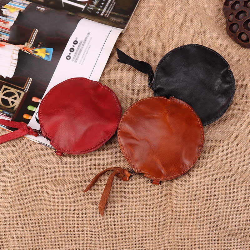 Femmes porte-monnaie en cuir véritable casque sac petit changement sac à main portefeuille pochette sac pour les femmes Zipper monnaie sac de rangement