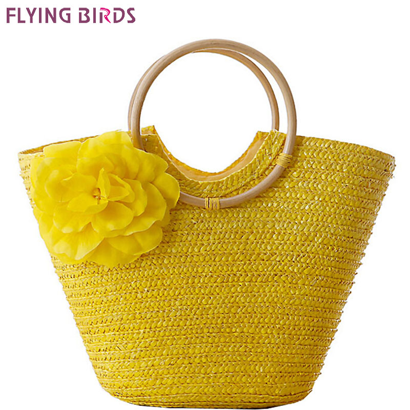 FLYING BIRDS! 2016 beach bag women handbags Bohemian women straw bag summer handbags bolsas women's bags travel bags LS8880fb handmade flower appliques straw woven bulk bags trendy summer styles beach travel tote bags women beatiful handbags