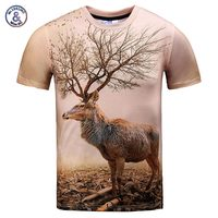 Bonito Modelo 3d Camiseta de los hombres/mujeres divertido print autumn tree astas ciervos del cool tops tees camiseta de manga corta Casuales de Alta calidad Tops