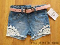 אופנה תינוקות בנות קיץ ג 'ינס מכנסיים בנות דנות מכנסיים קצרים עם חגורת ילדים ג' ינס מכנסיים קצרים בנות מכנסי תחרה