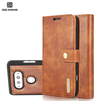 DG Ming Luxury Genuine Leather Magnetic 2 In 1 Detachable Stand Card Wallet Case For LG