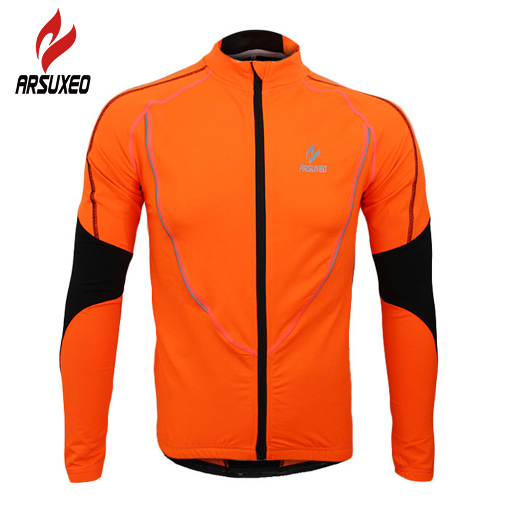 цена ARSUXEO Cycling Bike Bicycle Sports Clothing Jacket Wind Coat Winter Warm Up Fleece Thermal Running Fitness Excercise Jersey онлайн в 2017 году