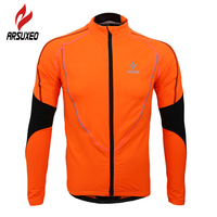 ARSUXEO Cycling Bike Bicycle Sports Clothing Jacket Wind Coat Winter Warm Up Fleece Thermal Running Fitness Excercise Jersey