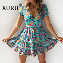 XURU summer new fashion womens floral dress sexy V-neck printed holiday beach bohemian