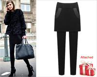 Autumn winter new fashion women fat mm plus velvet padded fake two-piece skirt large size warm package buttocks feet pants