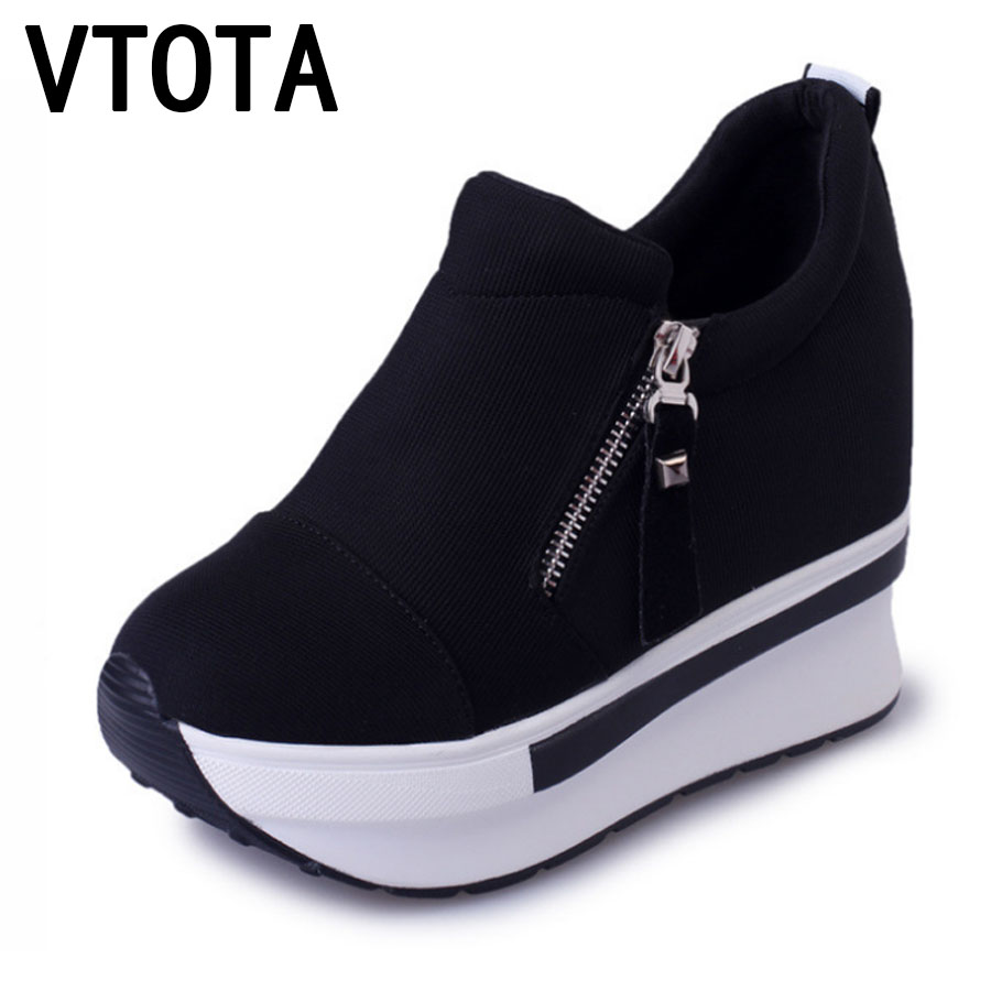 VTOTA Women Casual Platform Shoes Fashion High Heels Shoes Woman Wedges Women Shoes Loafers Heigh Increasing zapatos mujer B98 large size 8cm high 2016 women casual canvas shoes woman platform wedges high top with zippers ladies zapatos mujer espadrilles