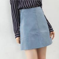 2016 Autumn Winter New High Waist PU Faux Leather Women Skirt Pink Yellow Black Back Blue