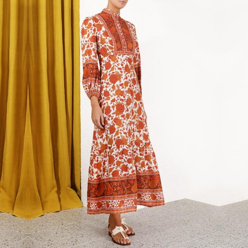 2019 รันเวย์ Designer Vintage พิมพ์ Maxi ชุดผู้หญิงสูงเอวแขนยาว Holiday Party Beach ชุดยาว Vestidos-ใน ชุดเดรส จาก เสื้อผ้าสตรี บน   2