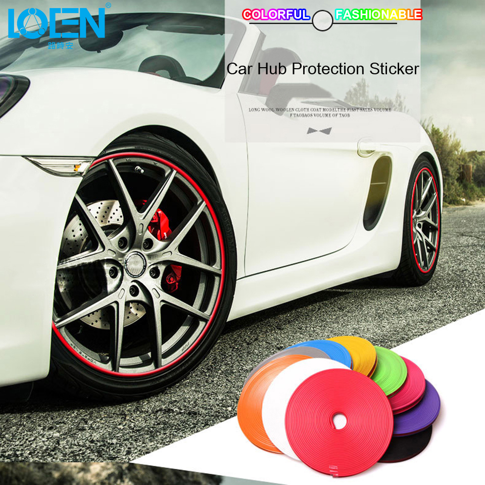 8M 10 Color Car Wheel Hub Tire Sticker Decal Car Decorative Strip Wheel Rim Protection Care