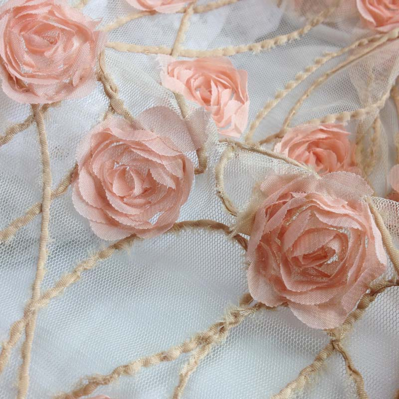 Yard cm d tulle chiffon lace fabric embroidered