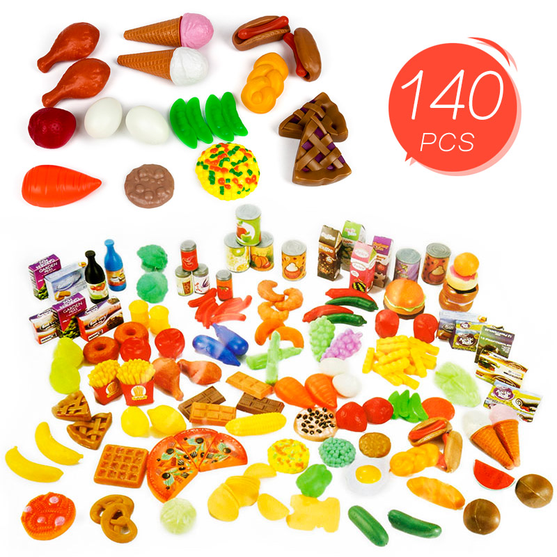 140PCS Food Cutting Toys  Kitchen Fun Simulation Cutting Fruits Vegetables Food Plastic Toy Pretend Diversity Food Sets For Kids