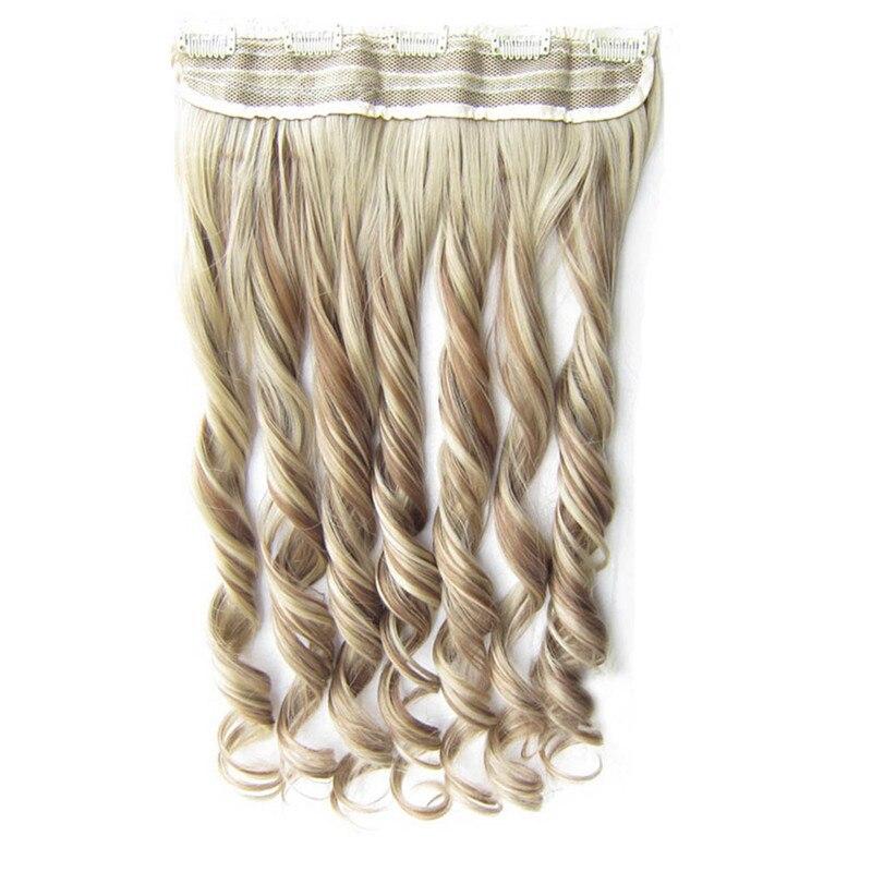 Gres Tiefe Welle Hohe Temperatur Faser Frauen 60 cm/24 inch 5 Clip-in Klavier Farbe Synthetische Haar extensions