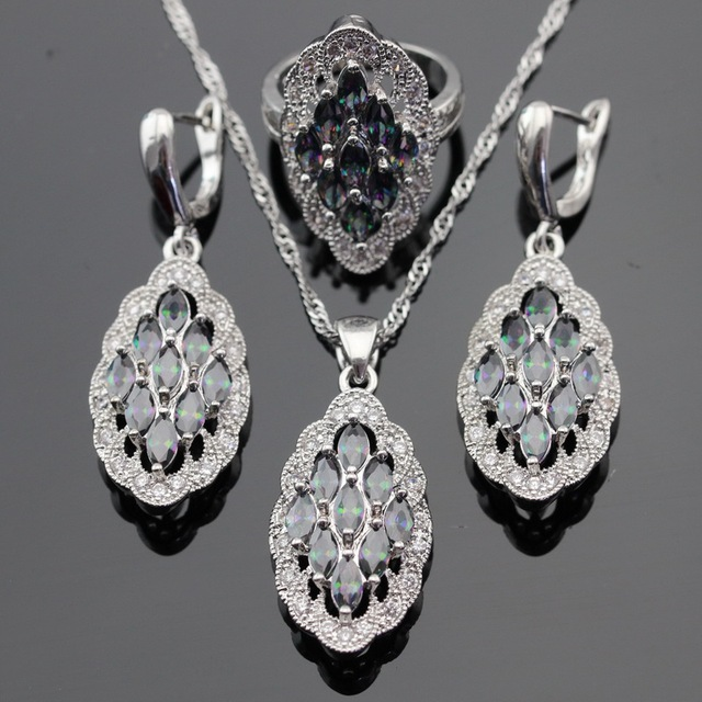 4pcs Silver Color Jewelry Sets Multicolor Rainbow Created Topaz For Women Necklace Pendant Earrings Rings Free Gift Box