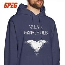 Game Of Thrones Men Hooded Sweatshirt Valar Morghulis Crow Pure Cotton Street Vintage Hoodies Hoodie Shirt