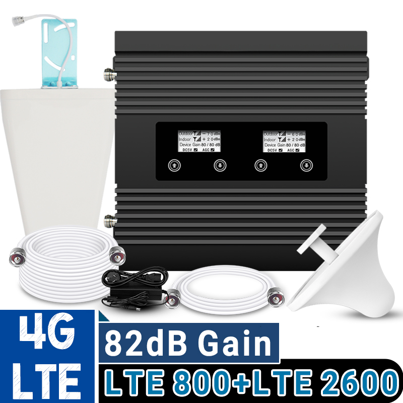 ATNJ 4G LTE 800 LTE 2600 MHz Signal Repeater 4G Amplifier Dual LCD Display Band 20 B7 4G LTE Cellular Signal Booster 82dB Gain