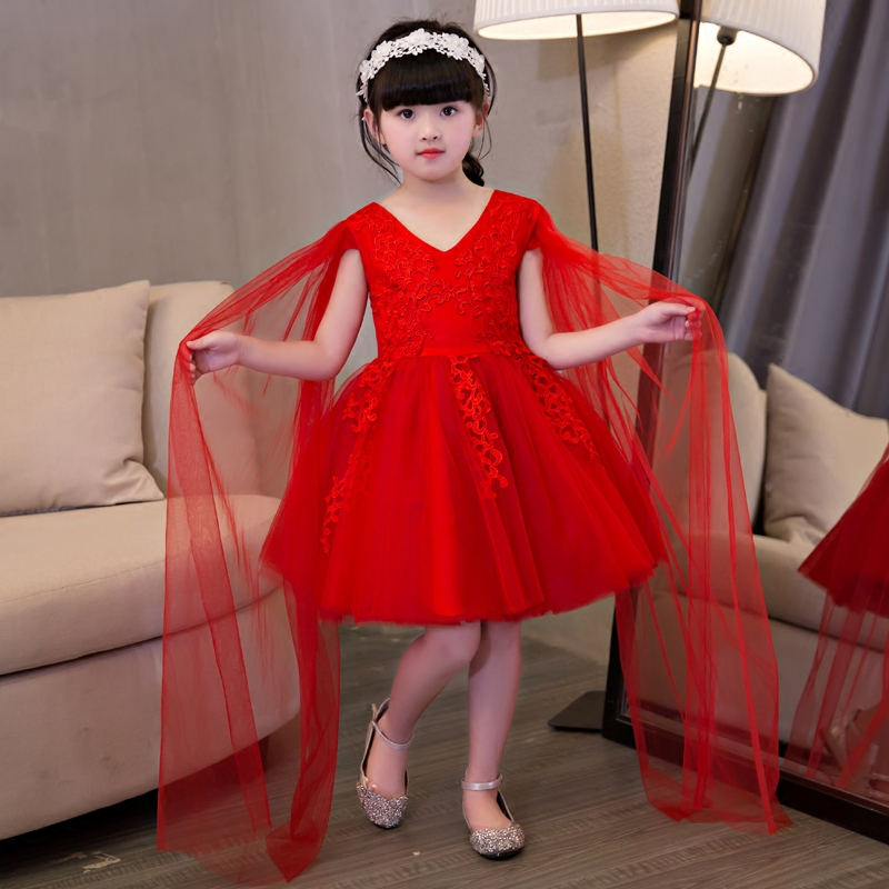 2017Girls Children Luxury Elegant V-Neck Embroidery Lace Princess Dress Kids Red Color Wedding Birthday Dress Pageant Tutu Dress купить в Москве 2019