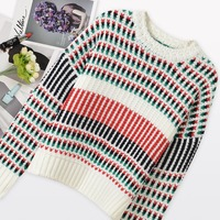Ky Q 2017 Vintage Colorful Striped Sweaters And Pullovers Women Fashion Long Sleeve Knitted Sweater Autumn