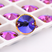 Colorful hotfix glass Crystal Rivoli strass Sew on rhinestone applique wedding dress diy Violet Blue 8mm,10mm,12mm,14mm