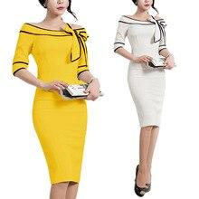 S-2XL women slash neck ress lady bow hlaft sleeve wrap hip pencil dress casual leisure office work formal