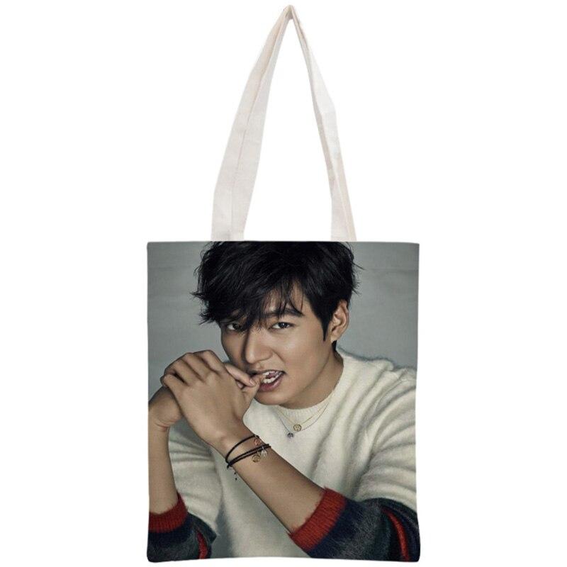 Custom Lee Min Ho Tote Bag Reusable Handbag Women Shoulder Foldable Cotton Canvas Shopping Bags