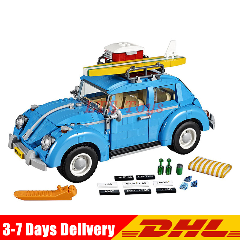 New LEPIN 21003 Series City Car Volkswagen Beetle model Building Blocks Compatible Legoings 10252 Blue Technic Car DIY Boy gift