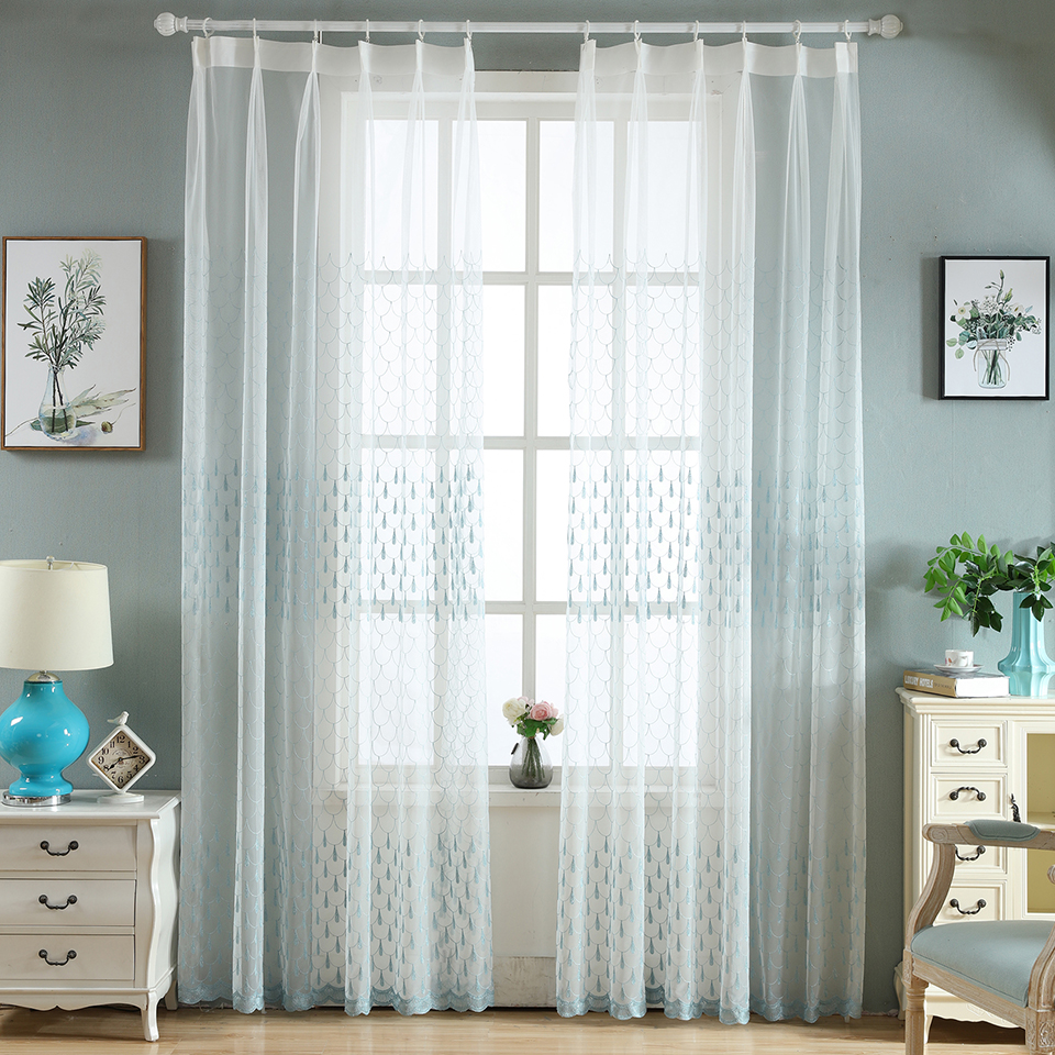 Sinogem Simple Luxury Embroidered Sheer Curtains Window Tulle ...