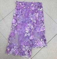 (5 yards/pc) Top qualität lila lila Französisch tüll stoff 3D blumen African tüll mit perlen pailletten für party FZZ110