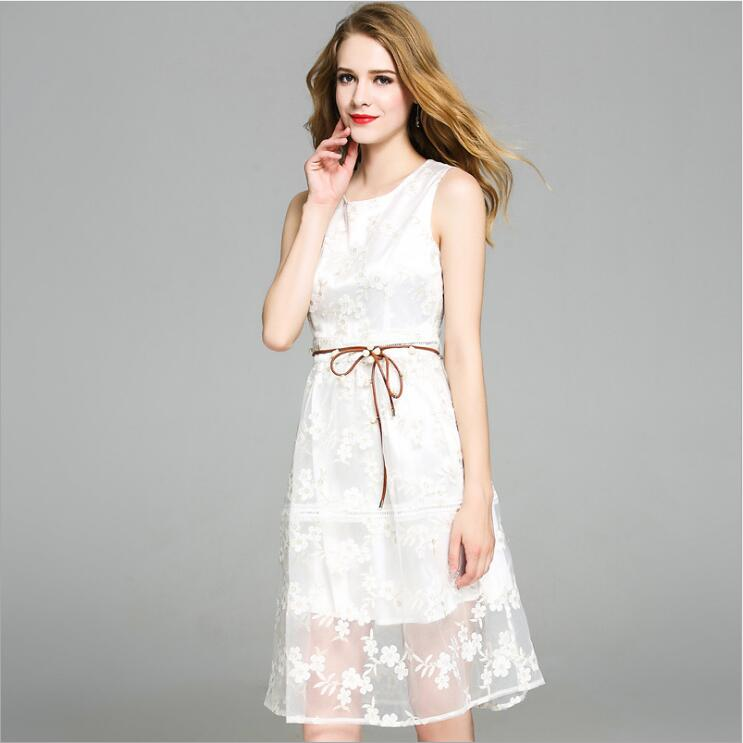 2017 new summer elegant white lace embroidery flower sleeveless vest dresses women casual clothes nigeria wedding