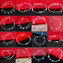925 Silver Bracelet Sterling Girl Women Bangle for Hand Chain Round Tassel Lady Anklet Vintage Jewelry Accessories vintage tassel engraved round arm chain for women