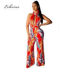 Echoine Party Jumpsuit Women Sexy Halter Leaf Print Cross Strap Backless Cut Out Long Wide Leg Pants Female Romper Street Outfit