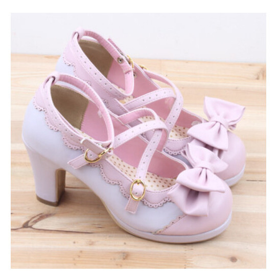 2017 New Spring Lolita Girl Candy Color Comfortable Shoes Spell Color Bow Cross Straps Waterproof High-heel Cosplay Women Shoes spring 2017 new japanese beaded lace bow laser detachable shoes soft sister student lolita shoes cosplay women high heel pumps