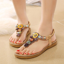 Bohemia sandals platform shoes women's rhinestone beaded beach sandals plus size 40 41  slip-resistant  summer flip-flops
