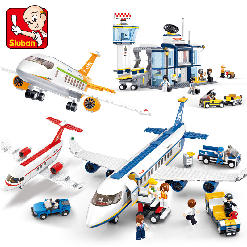 City Plane Series International Airport Airbus Aircraft Airplane LegoINGs Building Blocks Sets Figures Bricks Toys for Children