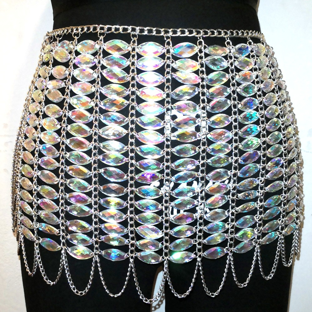 Chran Acrylic Beads Skirt Body Jewelry Fashion Women Waist Belly Harness Chain for Dance Culb