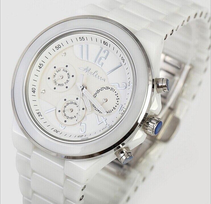 Классическая Мелая Для женщин Керамика браслет Часы элегантные леди 6 Руки платье часы неделю Календари кварцевые Relojes Montre Femme nw2211