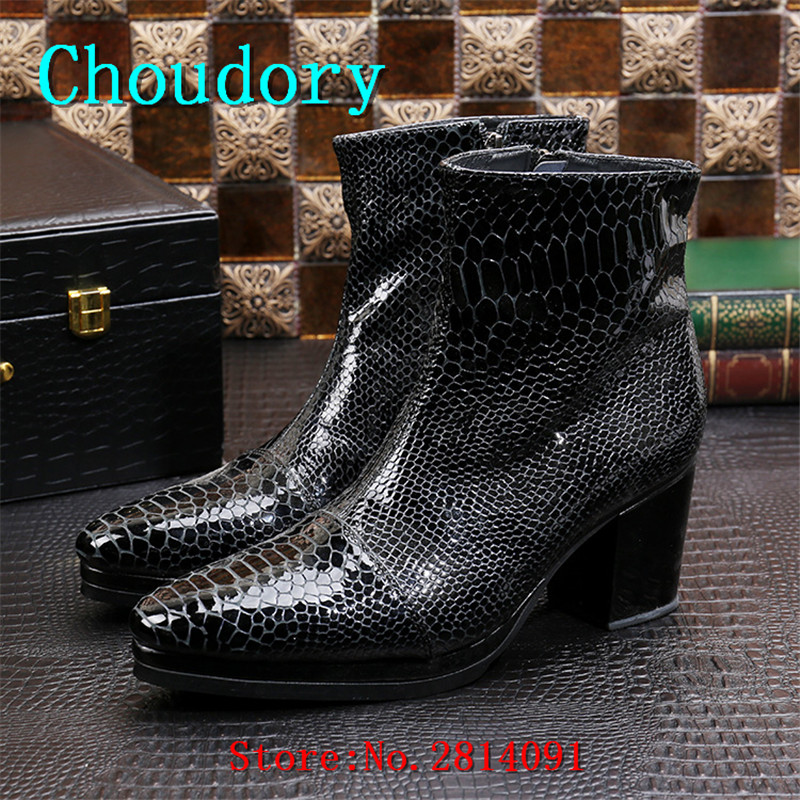 Choudory Height Increasing Ankle Boots Men Pointed Toe Zipper Spring Autumn Men Shoes High Heels New Chukka Snakeskin Boots Men