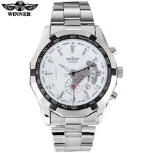 WINNER fashion sport men mechanical watches casual brand men's stainless steel band watches male auto date wristwatches reloje