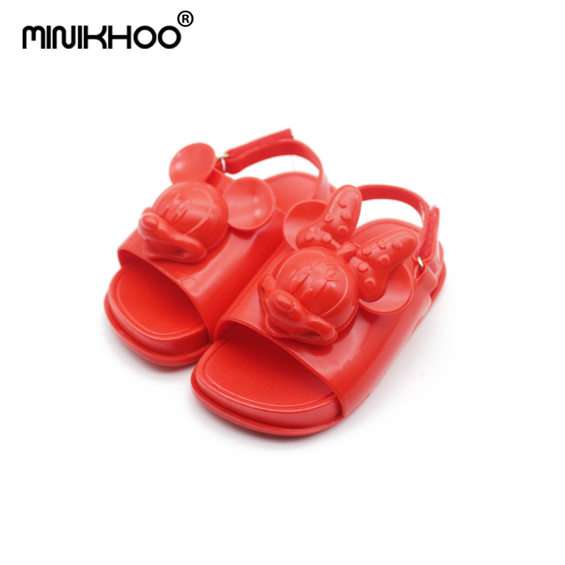 Mini Melissa 2018 New Summer 3D Mickey Soft Soled Feet ChildrenS Beach Shoes Baby Sandals Non-Slip Slippers Melissa Shoes