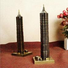 Antique Bronze Shanghai Jin Mao Tower Replica Model China Figurine World Famous Landmark Architecture For Home Decor Souvenirs