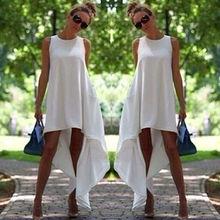Summer Women Boho Long Evening Party Ladies Casual Sleeveless O-Neck Beach Black and White Dress Sundress