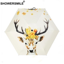 SHOWERSMILE Light Umbrella Women Mini Pocket Deer Parasol Uv Protection Five-Folding Ladies Windproof